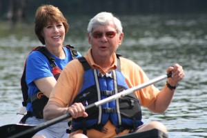 Gwen Graham paddles a tributary of the Apalachicola River during a campaign stop with her father, former U. S. Sen. Bob Graham. Photo by Bruce Ritchie.