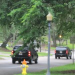 Vehicles leave the Florida Governor's Mansion following a meeting between Gov. Rick Scott and Georgia Gov. Nathan Deal. Photo by Bruce Ritchie