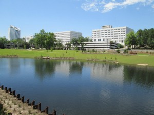 State office buildings are framed by Tallahassee's Cascades Park, a former contamination site. Photo by Bruce Ritchie.